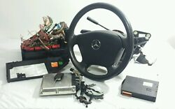 04 Mercedes Ml350 Steering Column Complete W Ignition Key Ecu Bcm Fuse Box Oem