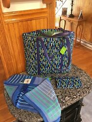 Vera Bradley Trimmed Tote and Wristlet & Scarf. Katalina Showers. 3 Pc. Set  NWT
