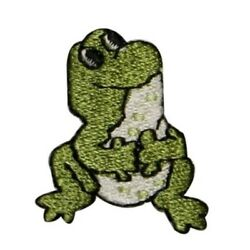 Id 0018a Sitting Frog Patch Looking Up Cute Baby Embroidered Iron On Applique