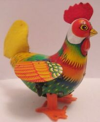 Colorful Old Tin Wind Up Toy Rooster W Felt Comb And Tail 5 Japan 1950s As Is