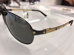 Cartier Santos De Sunglasses Metal Golden and Black PVD Finish ESW00012