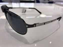 Cartier Santos De Sunglasses Metal black PVD and Platinum Finish ESW00013