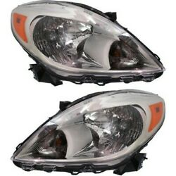 Headlight Set For 2012 2013 2014 Nissan Versa Left And Right With Bulb Capa 2pc