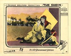 Rudolph Valentino / The Sheik 1921 Lobby Card Ft. Iconic Image W/agnes Ayres