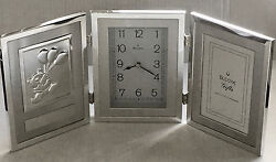 Silver Bulova Clock With Bear Plaque and Picture Frame Engravable New