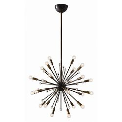 37 Tall Oberto Chandelier Gold Clear Black Vintage Brass Contemporary Decor