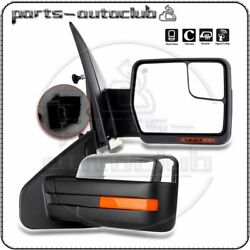Pair For 2007-14 Ford F-150 Power Heated Puddle Signal Chrome Side View Mirrors