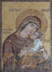 Jesus And Mary Icon Mother And Child Figure Marble Mosaic Fg149