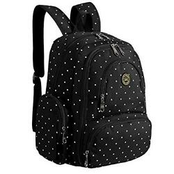 Imyth Large Capacity Baby Diaper Backpack Bag Fit Stroller Blackdot Waterproof