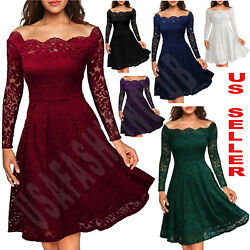 Women#x27;s Vintage Lace Boat Neck Formal Wedding Cocktail Evening Party Swing Dress $22.55