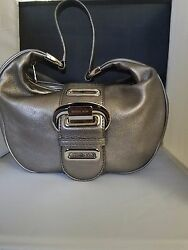 MICHAEL KORS~NEW~ Designer Silver Hang Bag W Triple Front Buckle