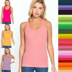 Women Racer Back Ribbed Knit TANK TOP Soft Stretchy Cotton Sleeveless Tee T-1159