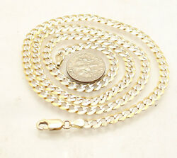 4.8m Solid Miami Cuban Curb Link Pave Chain Necklace Real 14k Yellow White Gold