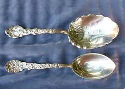 2 Large Early Gorham Sterling Silver Serving Spoons Versailles Pattern