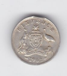 1962 Silver 6p Sixpence Miss Strike Clipped Bitten Variety Australia L-85