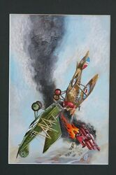 War 3 Beautiful Painted Cover - Wwi Dogfight - 1975 Art By Tom Sutton
