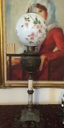 Antique Victorian Oil Kerosene Gwtw Gone With The Wind Banquet Parlor Lamp