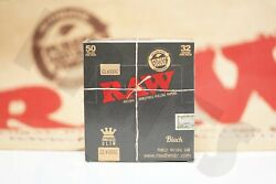 Full Box 50 Packs Of Authentic Raw Black Double Pressed Rolling Paper King Size