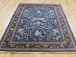 4and0396x6and0393 Hand-knotted Antique Farsian Tebraz Navy Blue Full Pile Rug R34783