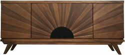 72 L Sideboard Buffet Cabinet Solid Walnut Wood Dark Brown Finish Hand Carved