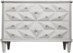 45 Chest Dresser Solid Mahogany Wood Hand Carved Details White Finish 2 Drawers