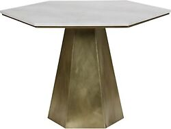 43 Round Dining Table Metal And Quartz Antique Brass Finish Stone Top Modern