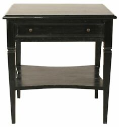 28 Set Of Two Side Table Night Stand Mahogany Wood Black Finish 1 Drawer Modern