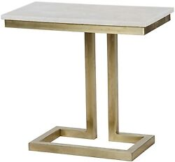 24 W Set Of Two Side End Table Antique Brass Bass White Stone Top Contemporary