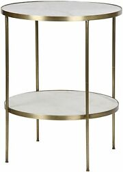 25 Round Set Of Two Side End Table Metal Quartz Antique Brass Finish Modern