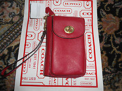 NEW Coach Red Leather Universal Zip Wallet Phone Case Convertible 50070 NWT
