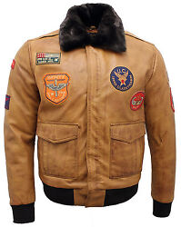 Menand039s Tan Nappa Leather Flight Bomber Jacket With Detachable Collar