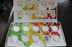 Canadian Ô Canada 2014 Mints Set 99.99 Fine Silver Set With Box - 12 Coins