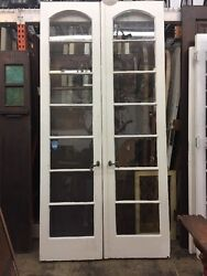 Arched French Doors Antique Vintage 1920's 7 Lights 98-1/2x48 Open 24ea