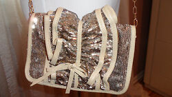 RED VALENTINO FAB CROSS BODY GOLD SEQUENCE EVENING  BAG $599.00