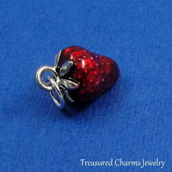Silver and Red STRAWBERRY Enameled FRUIT CHARM PENDANT $10.95