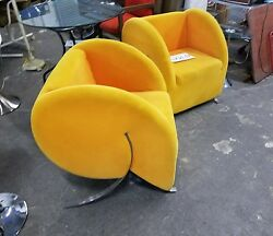 Pair Of Post Modern Comma Or Apostrophe Club Chairs W Stainless Steel Legs - P