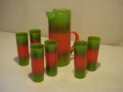 Vintage Blendo Glass Pitcher And 6 Lemonade Tumblers Orange Green Frosted