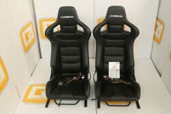 Heated HB white stitch Corbeau bucket pair seats FIT Land Rover Defender 90110