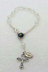 St. Christopher Blessed Mother Glass Auto Rear View Mirror Rosary Beads