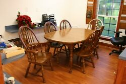 Beautiful Oak Table 6 Chairs Family Dinner Christmas Thanksgiving Father 'day