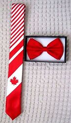 Canada Canadian Flag Adjustable Neck Tie+ Red Adjustable Bow Tie Combo-brand New
