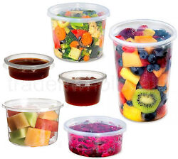 Round Food Containers Plastic Clear Storage Tubs With Lids Deli Pots 2oz To 32oz