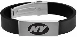Nfl New York Jets Stainless Steel And Rubber Logo Id Bracelet Jewelry New