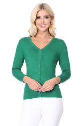 Yemak Womenand039s 3/4 Sleeve V-neck Button-down Basic Sweater Cardigan Co078 S-xl