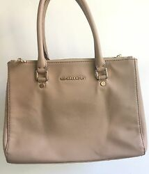 Michael Kors Beige Designer Handbag Saffiano Leather Selma Satchel Bag Purse