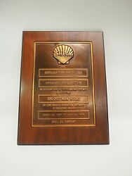 Shell Oil Company Plaque To Offshore Exploration Party 388