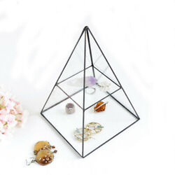 Vintage Style Brass Clear Glass Pyramid Mirrored Shadow Box Jewelry Display Case