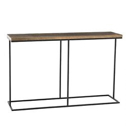 52 Long Console Table Contemporary Black Gold Natural Antique Brass Finish Soli