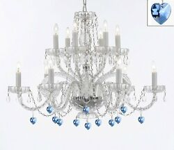 Murano Venetian Style All Empress Crystal Tm Chandelier With Blue Crystal