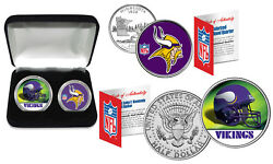 Minnesota Vikings - Nfl 2-coin Set Quarter And Jfk Half Dollar In Box Licensed
